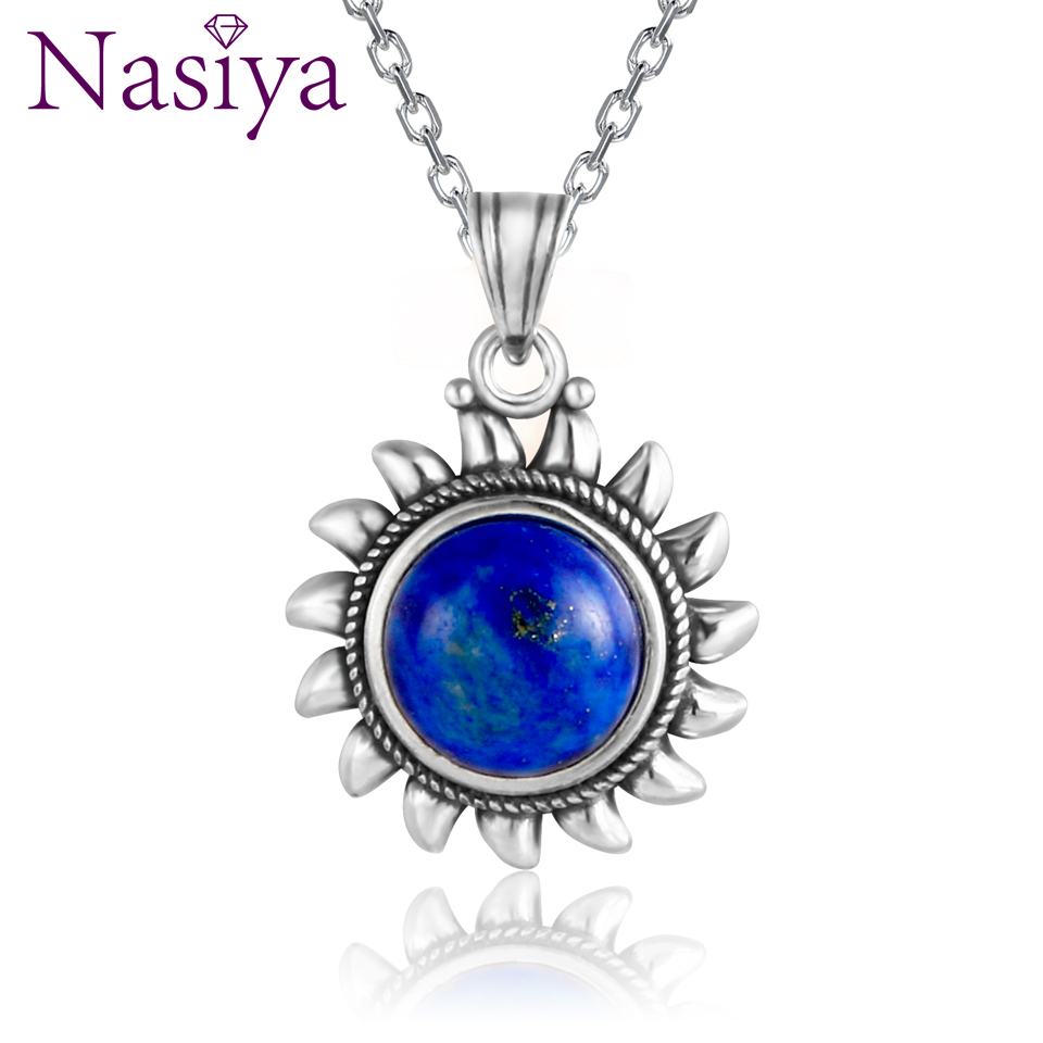NASIA 925 Sterling Silver Pendant Necklace Natural Blue Lapis Lazuli Necklace For Women Engagement Party Valentine Day Gifts