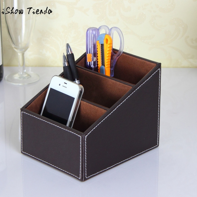 Leather Phone Tv Remote Control Storage Box Home Desk Organizer Holder Organizador 13x16x13cm Boite De