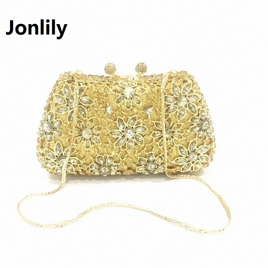 Jonlily Women Evening Bags Ladies Wedding Party Bag Crystal Hollow Out Day Clutch Diamonds Purses wedding bridal handbag LI-311