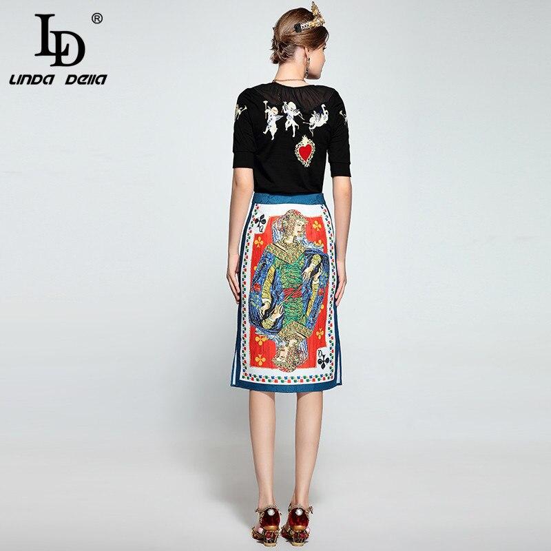 Ld Jeu Manches Costumes Della Broderie Designer Pull Costume Jupe Ange De Linda Courtes Fashion pièces Et Multi Piste Ensemble Deux Femmes rwvp4rxqX