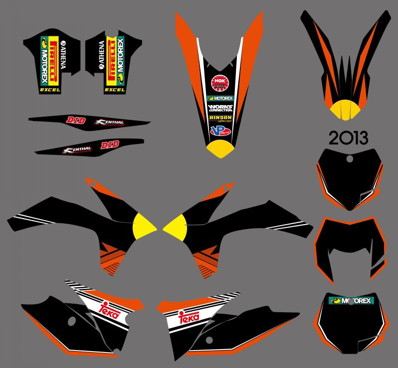 NEW STYLE TEAM GRAPHICS WITH MATCHING BACKGROUNDS DECALS STICKERS FOR KTM EXC 125 200 250 300 350 450 500 2012-2013 XC 2011 0251 new style team decals stickers graphics kits for sx50 50cc 50 50sx for ktm 50 2009 2010 2011 2012 2013