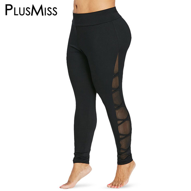 94724f82912f PlusMiss Plus Size 5XL Mesh Insert Fitness Leggings Women Big Size Sexy  Skinny Workout Pants Legins Jeggings 2018 XXXXL XXXL XXL