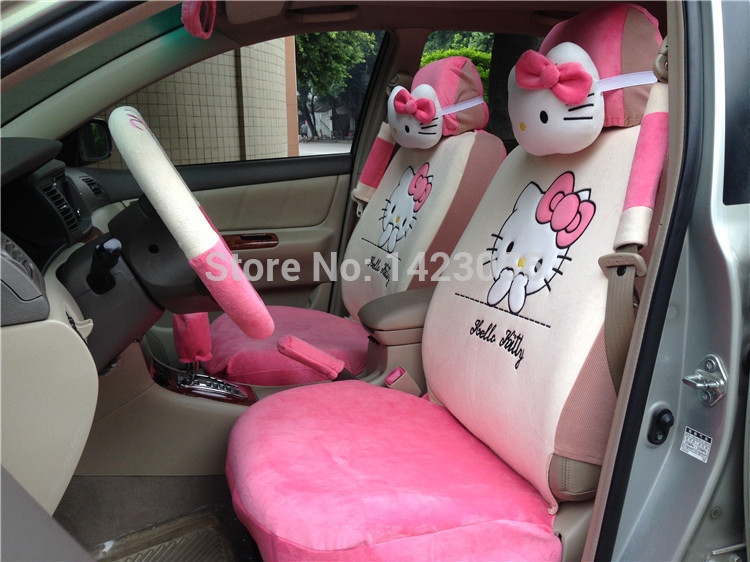 new pink hello kitty car seat covers accessories car set 18pc parts steering wheel cover car. Black Bedroom Furniture Sets. Home Design Ideas