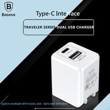 Baseus Универсальный Двойной Порт USB (Тип C + USB) Смартфон Зарядное Умный Быстрая Зарядка Кривой Стены Зарядное Устройство 3.4A быстрая скорость зарядки