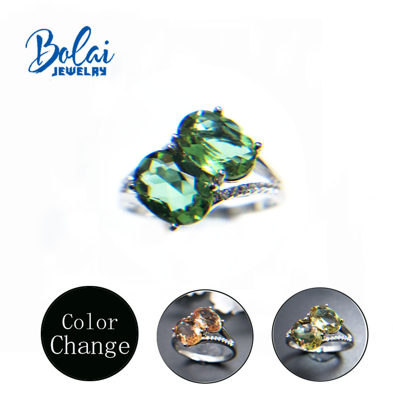 Bolaijewelry,Color Change Created Zultanite Women Rings 925 Sterling Silver Fine Jewelry For Grils Best Gift