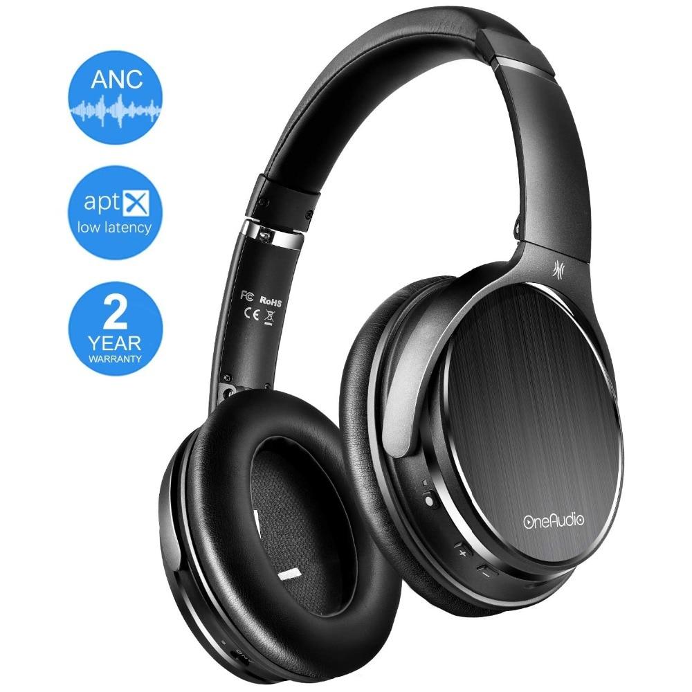 Casque antibruit actif OneAudio casque Bluetooth casque sans fil avec micro/apt-x faible latence pour TV/PC
