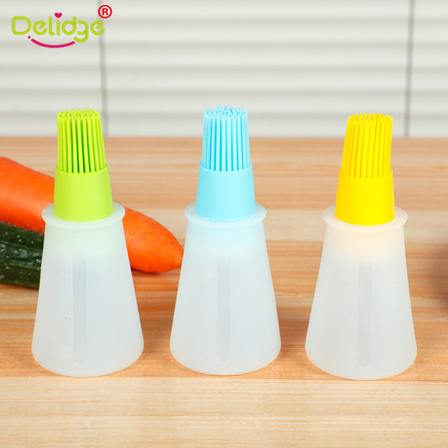 Delidge 1 Pc Silicone Oil Bottle Baking Brush Liquid Oil Honey Brushes Barbecue Tool BBQ Basting Pancake Kitchen Accessories