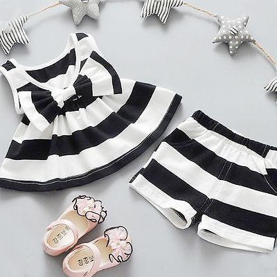 Helen115 Повседневное для новорожденных девочек с бантом Полосатое платье без рукавов Футболка + Шорты для женщин комплект из 2 предметов От 0 до...