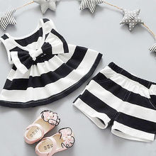 Helen115 Casual Newborn Baby Kids Girl Bowtie Striped Sleeveless Dress T-shirt+Shorts 2PCS Set 0-5Y