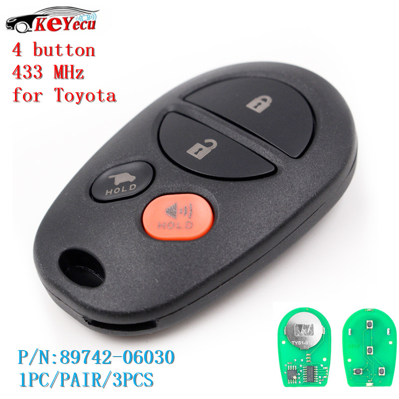 Battery For 2006 Toyota Camry: KEYECU 4 Button 433MHz Remote Car Key Fob For Toyota Camry