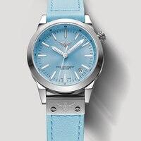 Новое поступление yelang v1010 Обновление версии T100 Тритий синий световой Водонепроницаемый леди Для женщин Мода Повседневное кварцевые часы на
