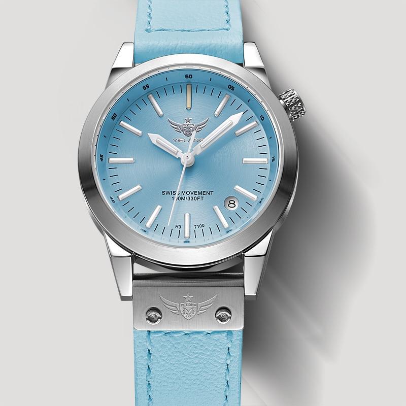 Nouvelle arrivée YELANG V1010 Version de mise à niveau T100 Tritium bleu lumineux étanche dame femmes quartz pour mode décontractée montre bracelet-in Montres femme from Montres    1