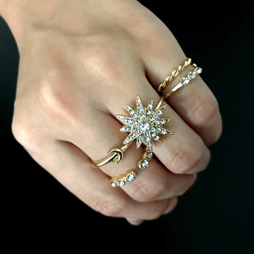 Fashion Vintage Star Moon Rings Set Gold Color For Women Party Crystal Rings Jewelry Rings Alloy  Finger Rings