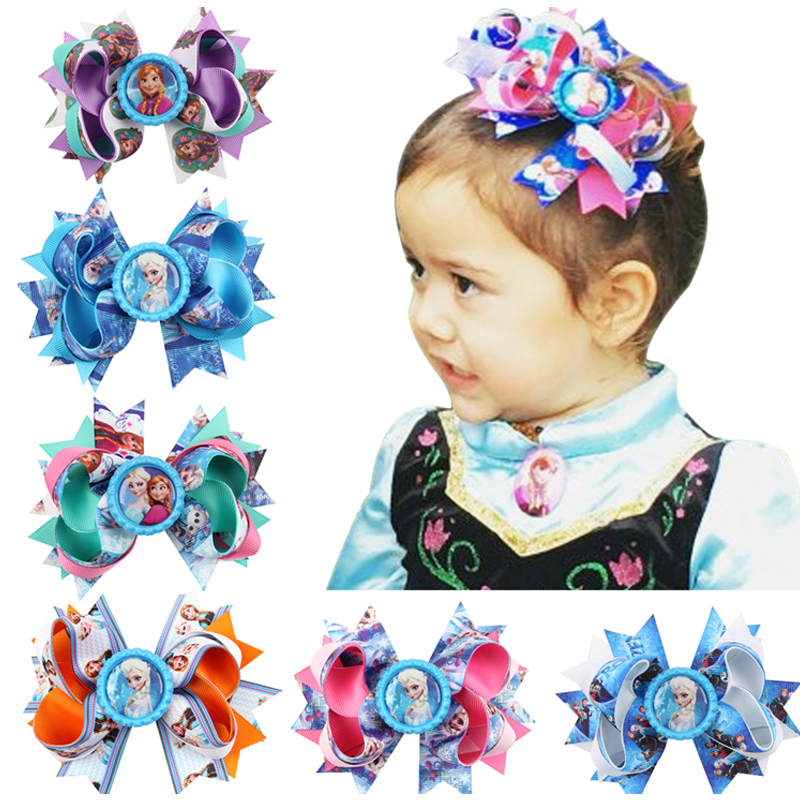 1PC Headwear Kids Headband Girls Hair Bows Hair Pins Princess Elsa Anna Ribbon With Alligator Clip Kids Hair Accessories W90
