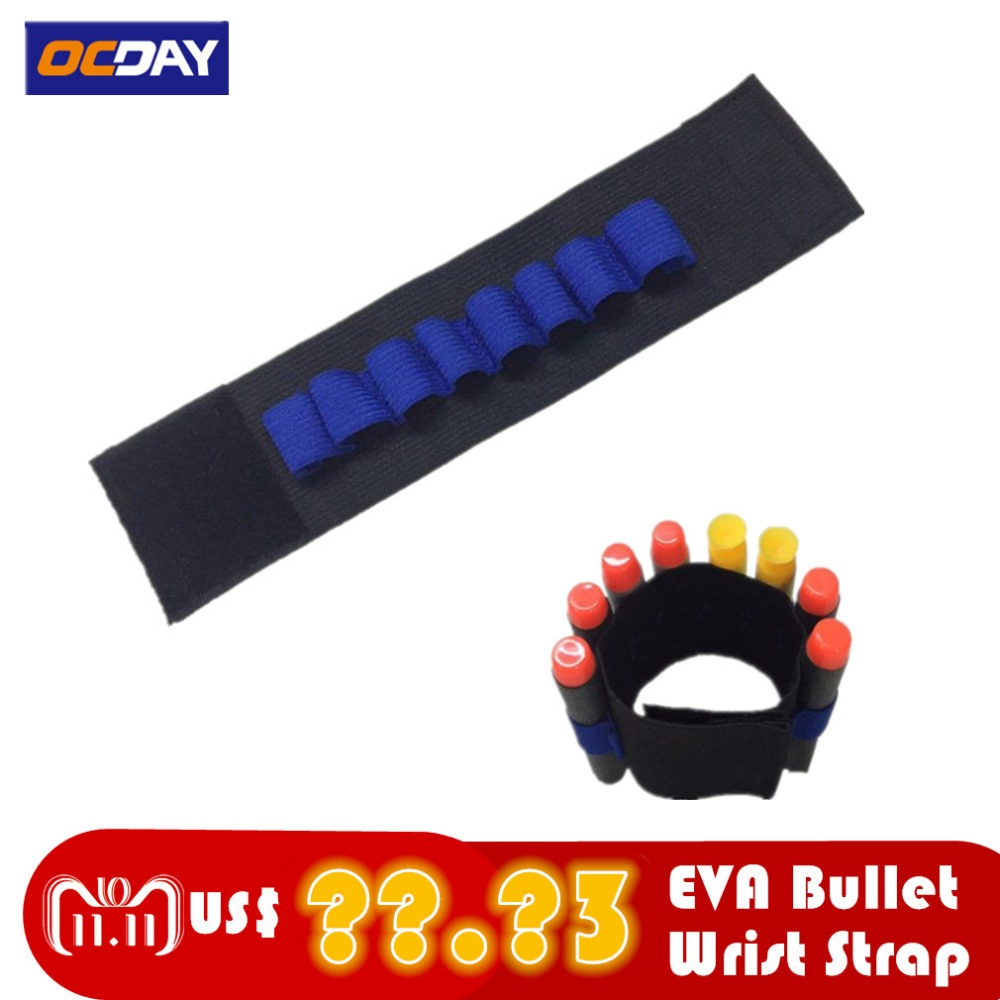 Elastic Wrist Strap Safety EVA Bullets Wristband Clip Soft Darts Ammo Storage Bullets For Nerf Gun Access Wrist Belt eva Toy Gun in Toy Guns from Toys Hobbies