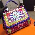 25CM the new spring and summer bird leather color printing medium handbag fashion Leather Shoulder Messenger Bag