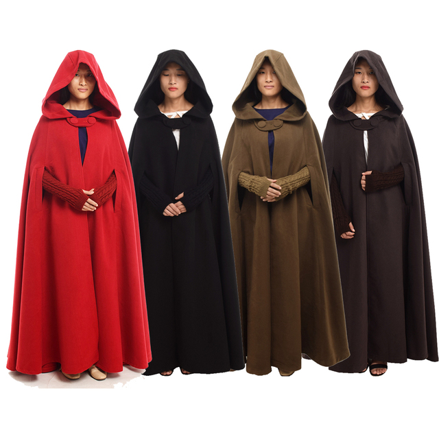Women Medieval Cloak Vintage Hooded Female Winter Thicken Floor-Length Christmas Wicca Poncho Coat Long Cape