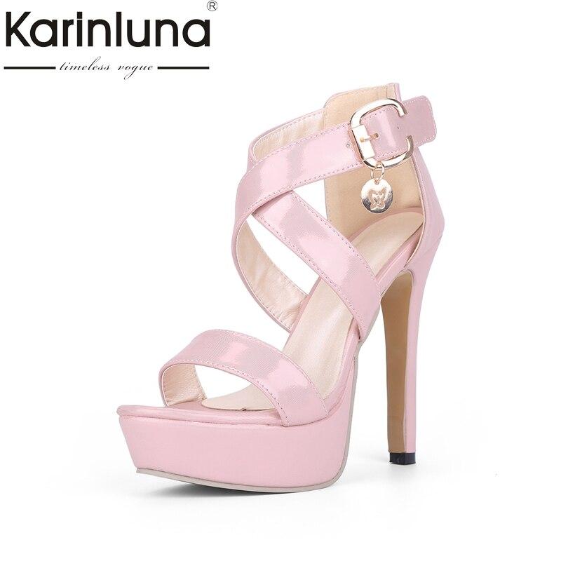 где купить Karinluna 2018 fashion thin high Heels Sandals Summer Shoes Woman sexy gladiator party wedding Women Shoes по лучшей цене