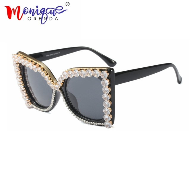 d584dad9f0 Fashion Sunglasses oversized rhinestone sunglasses women summer beach 2018  luxury sun glasses cat eye women black Shades uv400