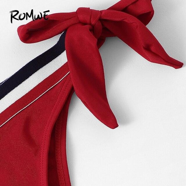 Romwe Спорт Красный Полосатый отделкой короткий топ с галстуком сбоку бикини узел треугольники купальный топ c бретелькой через шею для женщи... 4