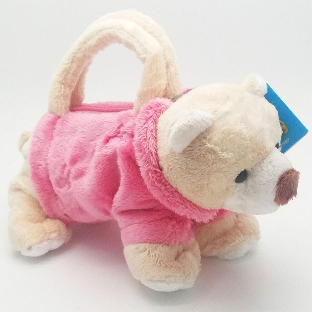 Брелок плюшевая игрушка плюшевая собака плюшевая монета держатель собака плюшевая портативная упаковка кукла для девочек милая детская 3d мультяшная сумка для детей - Цвет: pink