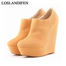 Women Platform Boots Round Toe Wedges Girls High Heels Shoes 10 Colors Zip Ankle Boots Female Pumps Shoes NLK-C0099