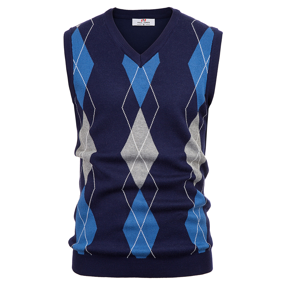 Spring Fall Men Sweater Warm Retro Classic Stylish Sleeveless Sweater Diamond Check Pattern V-Neck Knitted Vest Men Knitwear Top