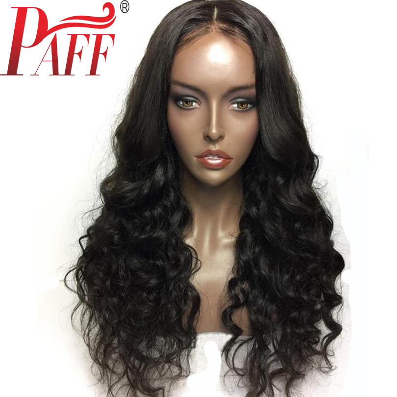 PAFF Glueless Human Hair Full Lace Wig 130% Density Natural Wave Peruvian Remy Hair With Baby Hair Middle Part Bleached Knots