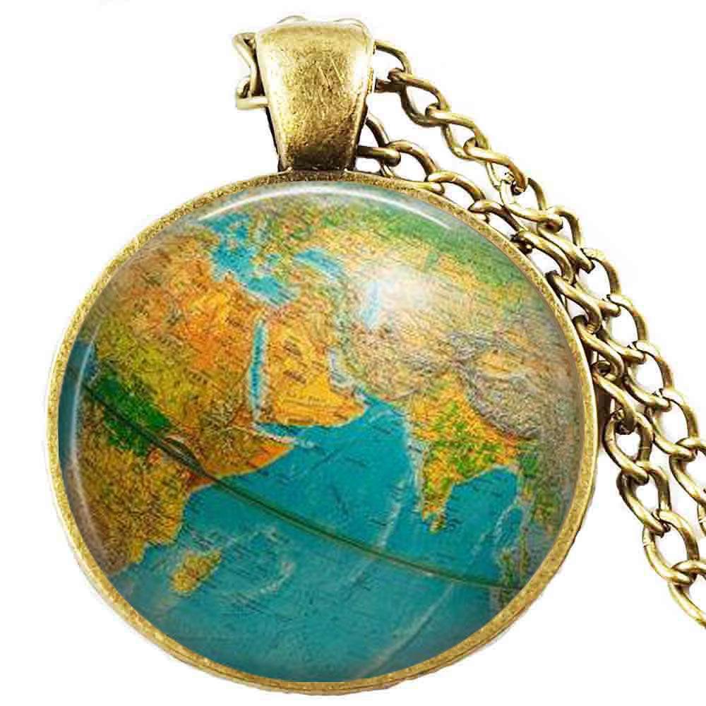Globe necklace, earth globe pendant , globe art pendant , teacher gift, world travel adventurer , world map globe jewelry