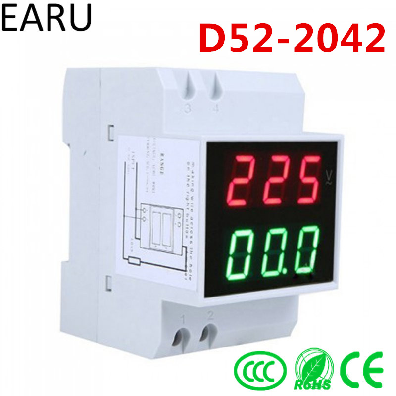 Casa inteligente D52-2042 display DIN Rail rojo verde AC80-300V AC0.1-99.9A digital voltímetro AC alternationg voltaje corriente meter
