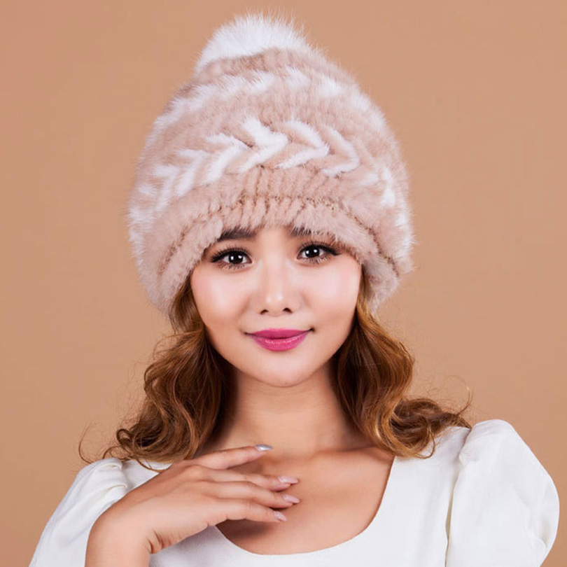 mink fur knitting hat for women cap natural Fur Skullies & Beanies knitted hat female cap top quality fur Genuine fur women hats mink skullies beanies hats knitted hat women 5pcs lot 2299