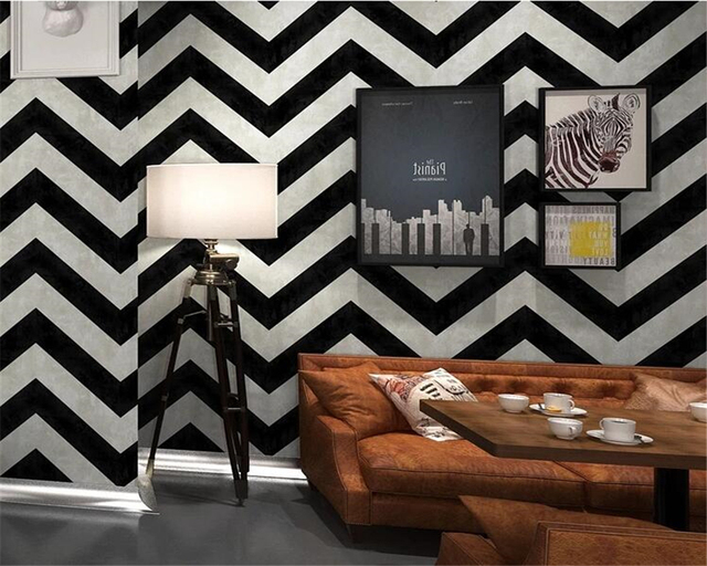 Beibehang Black And White Stripes Wallpaper Geometric Lines Bar Clothing Bedroom Living Room Background Walls