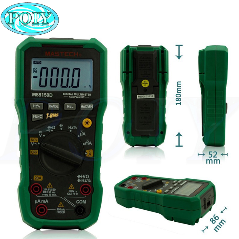 Mastech MS8150D Digital Multimeter Auto Range Ture RMS 6600 Counts Portable Tester Meter Electrical Instrument Diagnostic tool-in Multimeters from Tools    1