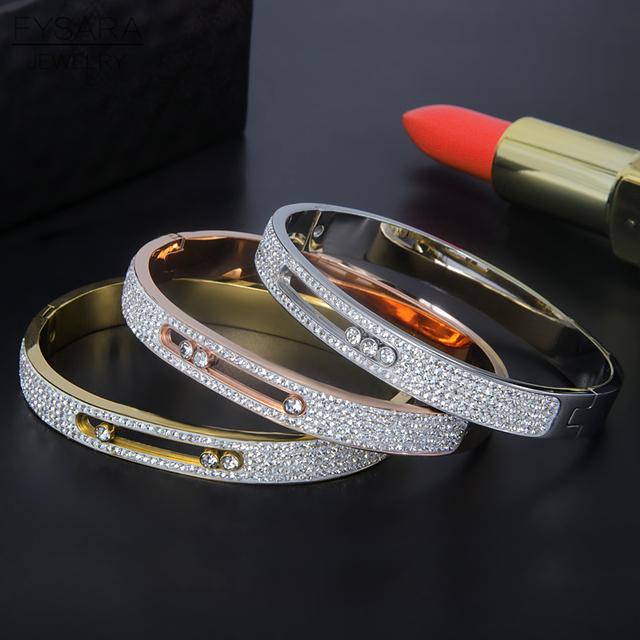 Women's Stainless Steel Crystal Bangle Bracelet
