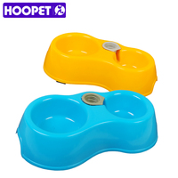 HOOPET The New Listing Pet Double Bowl Dual Eating Drinking Easy To Clean Yellow Blue Plastic