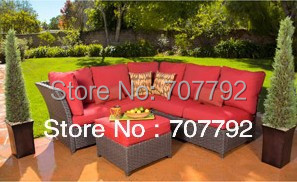 2017 Hot Sale Patio Red Ratan Furniture 3 Piece Outdoor Sectional