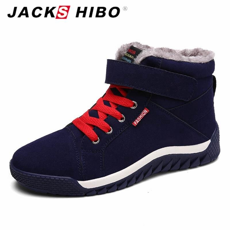 Hommes Jackshibo Doublé Bottes De Neige Chaudes Bottes D'hiver Baskets En Plein Air - Bleu Foncé, Taille: 44