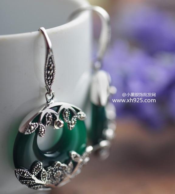 Черный серебристый ювелирные изделия оптовая продажа стерлингового серебра 925 ювелирные изделия леди мозаика агат серьги xh025453