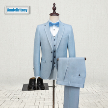 2017 Latest Coat Pant Designs Light Blue Linen Men Suit Slim Fit three Piece Tuxedo Custom Suits Groom Prom Blazer Terno Masculino