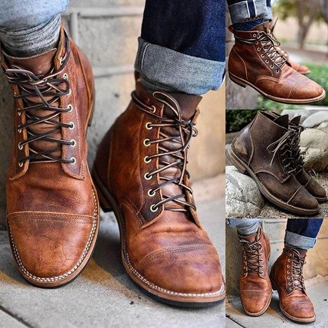 Masorini ผู้ชายแฟชั่น Lace - up Martin Boots ผู้ชาย Vintage ทหารอังกฤษรองเท้าฤดูใบไม้ร่วงฤดูหนาว BRM-060
