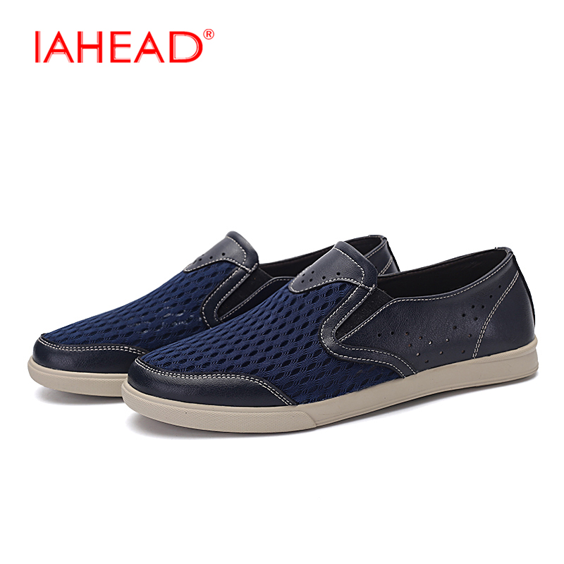 Luxury Brand Men Genuine Leather Shoes Big Size 38-48 Men Fashion Mesh Breathable Shoes New Summer Slip-On Loafers Shoes MQ259 big size 46 summer breathable mesh loafers men casual shoes genuine leather slip on brand fashion flat shoes soft comfort cool