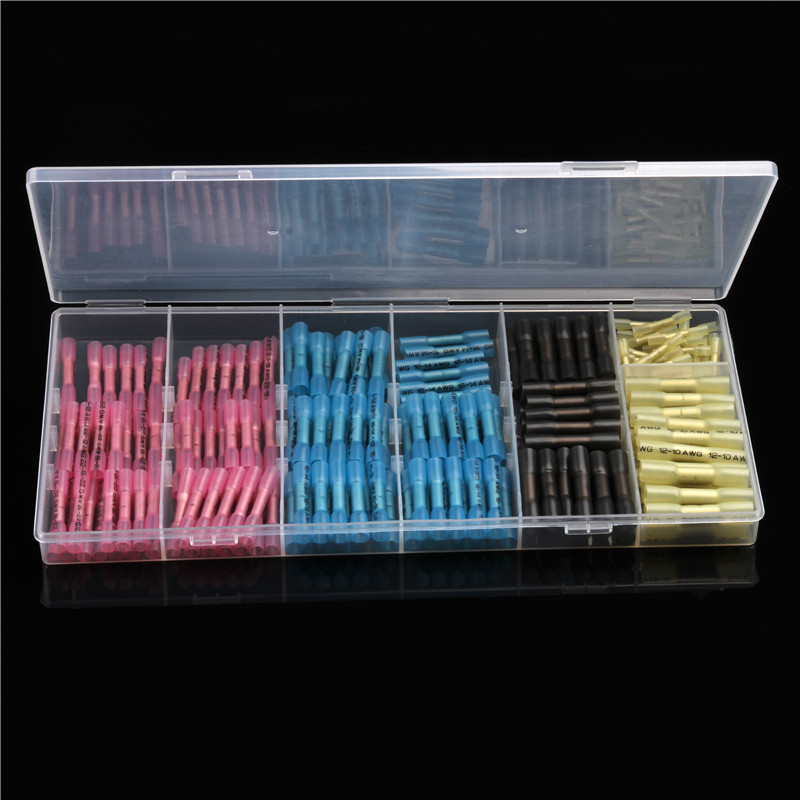 цены 200PCS Insulated Waterproof PE Heat Shrink Terminals Crimp Terminals Connectors 5 Sizes Assortment With Box