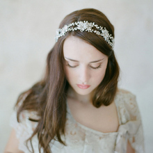 High Quality Handmade Freshwater Headbands Bridal Accessories Flower Hairband For Wedding Haar Accessoires Crown Girl Acessorios plus size 34 43 open peep toes sexy lace wedding shoes bride silver crystal decoration handmade hs295 summer bridal pumps shoe