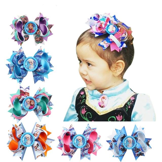 10 Colors Hair Clip Headband Princess Elsa Anna Ribbon With Alligator Kids Hair Bands Hair Accessories H020