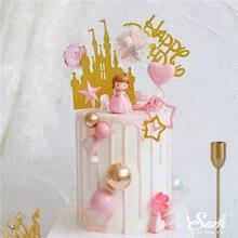 Coroa de princesa decoração brilhante dourado, castelo, bolas rosa, feliz aniversário, para criança, festa de casamento, presentes de confeitaria