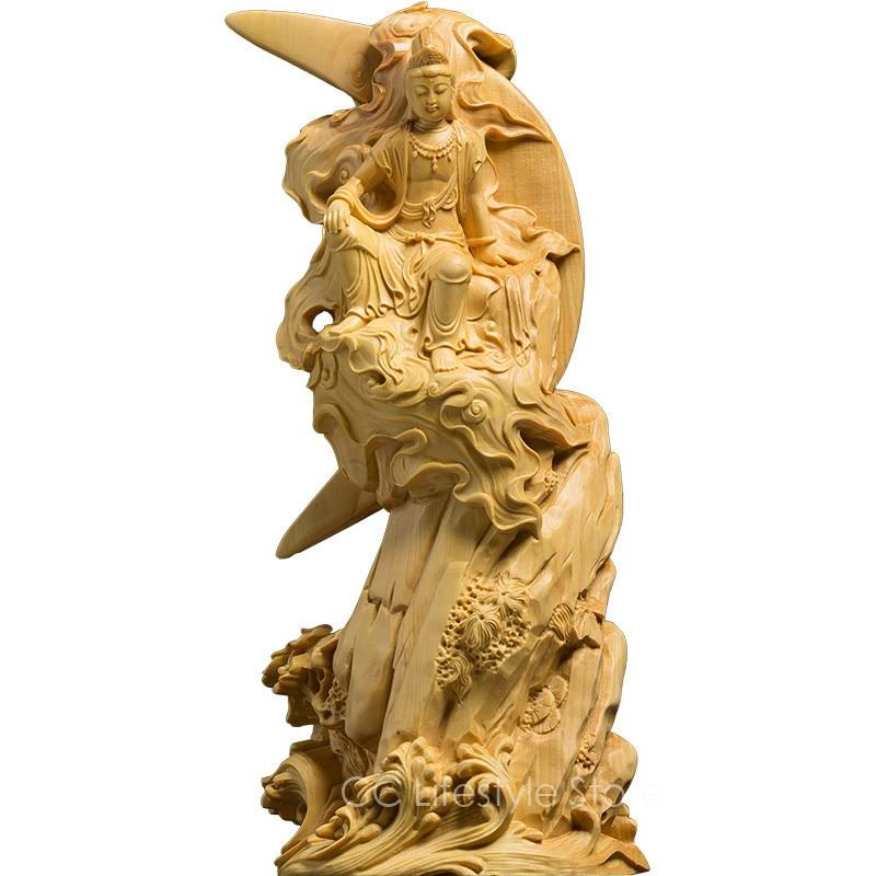 Exquisite Buddha carving statue Goddess handmade solid boxwood craft ...