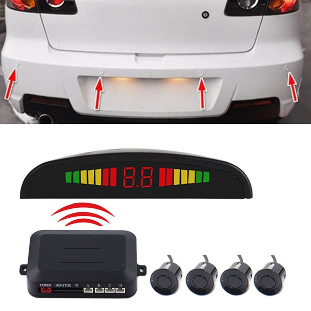 New Wireless Auto Car Parktronic LED Parking Sensor System Reverse Backup Monitor Radar Detector with 4 Sensors Sound Buzzer цена 2017