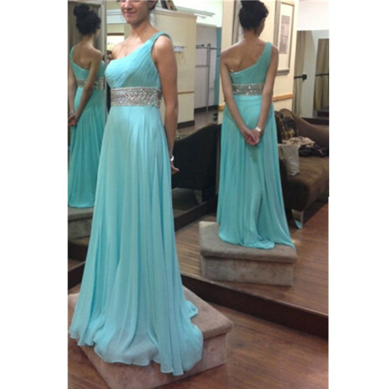 Top Quality Turquoise One-Shoulder   Prom     Dresses   Long 2019 Beaded Crystals Sashes Floor Length Chiffon Bridesmaid   Dress   Kaftan