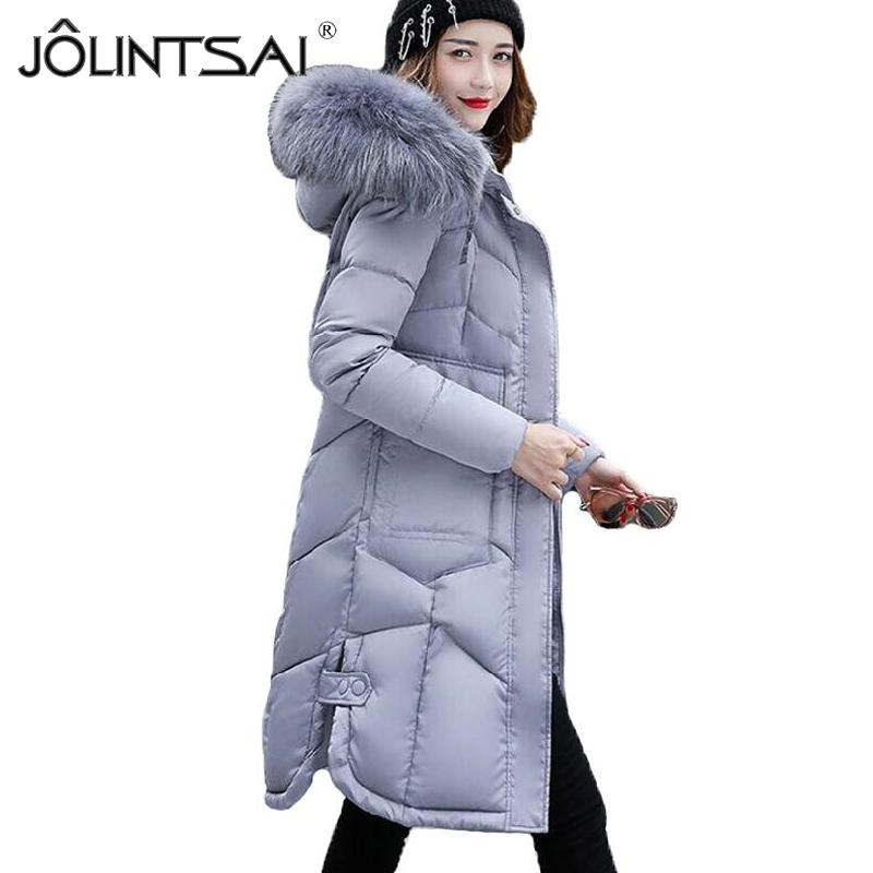 2017 New Winter Jacket Women Long Cotton-padded Thicken Coat Women Parka Big Fur Collar Hooded Womens Jackets Coats Outerwear