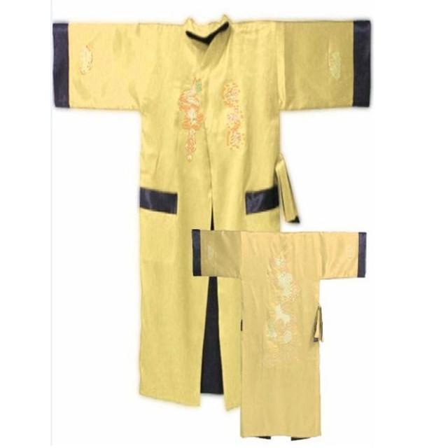 Oro Negro hombres Chinos Reversibles de Satén de Seda-Two cara Robe Bordado Del Kimono de Baño Vestido Dragón Un Tamaño S3005